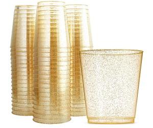 100pcs Disposable Gold Glitter Plastic Cups