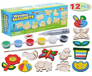 12 Wooden Magnet Creativity Arts & Crafts Painting Kit For Kids