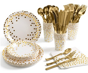 175 Piece Gold Party Supplies Set Serves 25