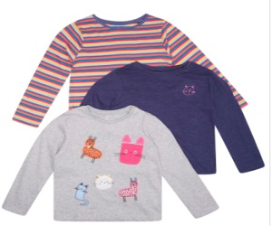 3 Pack Long Sleeve Cat T-Shirts