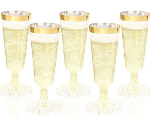 36Pieces Gold Plastic Champagne Glass
