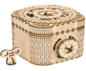 3D Wooden Puzzle Mechanical Treasure Box