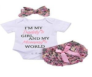 3PCS Newborn Baby Girl Romper Bodysuit