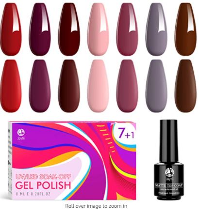 7 Color Gel Nail Kit with Matte Top Coat + Extra 5% Off