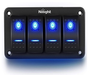 90109D 4 Gang Aluminum Rocker Switch Panel
