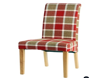 Aestas Vesty Prosen Red Check And Natrual Oak Dining Chair Pair