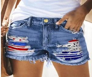 American Flag Ripped Hole Frayed Hem Denim Shorts