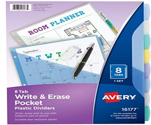 Write & Erase Durable Plastic Dividers with Pockets