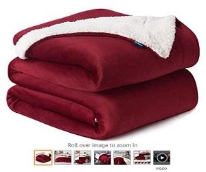 Red Burgundy Wine Maroon Plush Blanket