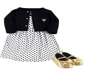 Baby Girls Cotton Dress And Shoe Set
