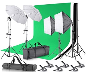 Background Support System and Umbrellas Softbox Lighting Kit