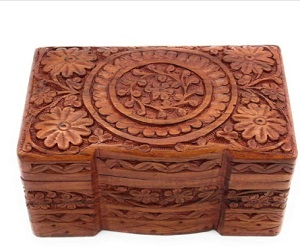 Beautiful Carved Fair Trade Three Compartment Design Wooden Box
