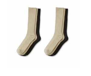 Men's Casual Black & Beige Crew Socks