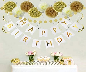 Birthday Banner Hanging Swirls Paper Garland and Flowers For Kids