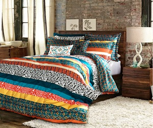 Boho Striped Reversible 7 Piece Comforter Bedding Set