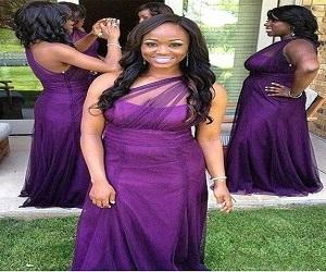 Classic Round Neck V Back Lace Bodice Bridesmaid Dress