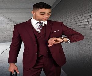 Mens 2 Button Slim Fit Wool Suit