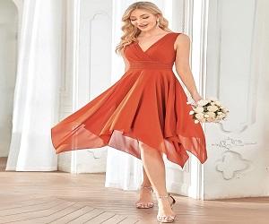 Knee Length Chiffon Bridesmaid Dress with Irregular Hem