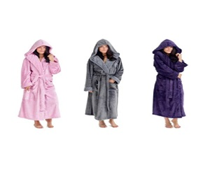 CityComfort Fluffy Super Soft Hooded Dressing Gown for Women