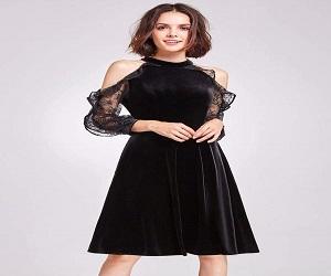 Cold Shoulder Velvet Party Dress