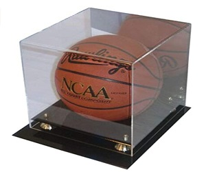 Collectible Protected Acrylic Basketball Display with Mirror