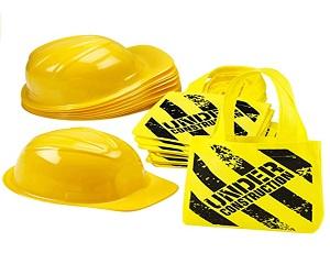 Construction Party Hat & Mini Tote Bag Supplie