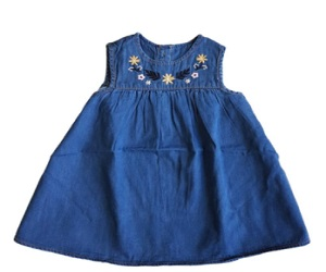 Denim Embroidered Sleeveless Dress