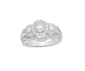 Diamond Frame Vintage Style Engagement Ring