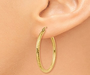 Gold Diamond-cut Hoops
