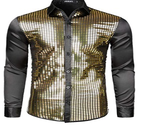 Disco Costume Silver Sequins Long Sleeve
