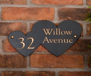 Double Heart Rustic Slate House Nameplate