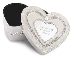 Elegance Heart Keepsake Box with Engraving Included