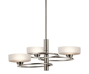 Elstead Kichler Aleeka 3 Light Chandelier, Classic Pewter - KL/ALEEKA3