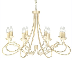 Elstead Olivia 8 Light Ceiling Light, Ivory & Gold - OV8IVORY/GOLD