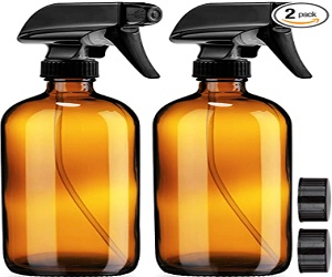 Empty Amber Glass Spray Bottles with Labels (2 Pack)