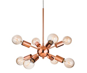 Firstlight Alfa 8 Light Ceiling Light, Copper Finish - 3710CP