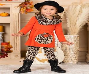 Girls Pumpkin Long Sleeve Tunic