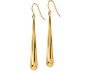 Gold Long Polished Teardrop Dangle Earrings.