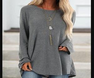 Gray Cotton Casual  Tops