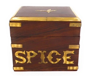 Hand Crafted Wooden Spice Storage Box With A Brass Decoration.