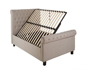 Lillie Double Light Grey Fabric Lift Up Storage Bed