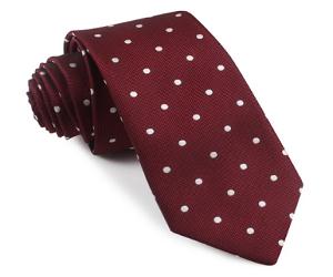 Mahogany Maroon with White Polka Dots Skinny Tie