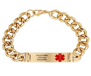 Men's Gold Engraved Bracelet