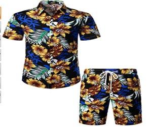 Men's Flower Casual Button Down Short Sleeve