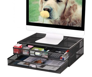 Metal Mesh Desk With Dual Pull Out Storage Drawer