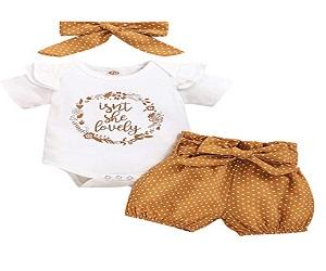 Newborn Baby Romper Pants with Headband Clothing Set