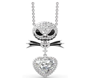 Nightmare Necklace 925 Sterling Silver Jack and Sally Skull Pendant