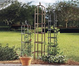 Powder Coated Steel Garden Obelisks And Basket Planter