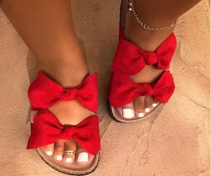Red Bow Comfortable Shoes