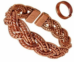 Richly Coloured Magnetic Copper Twisted Plait Bracelet with Etched